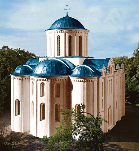 Ancient looks of St. Cyril's Church.Reconstruction by M. Kholostenko
